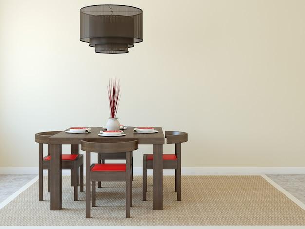 Interior.3d moderno da sala de jantar.