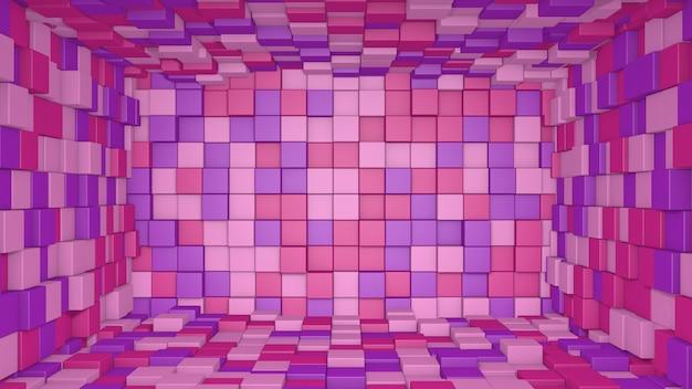 Interior abstrato 3d rosa e roxo feito com cubos de fundo