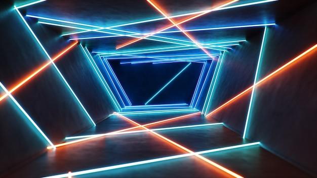 Interior abstrato azul e vermelho com luz de néon.