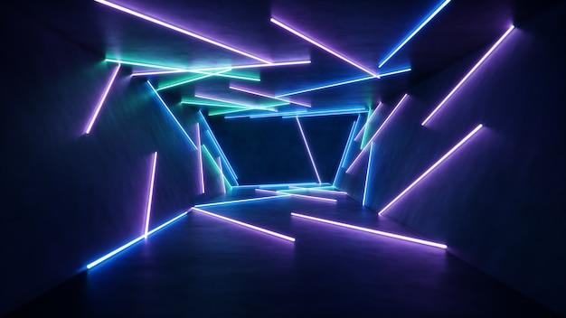 Interior abstrato com luz de néon azul e rosa.