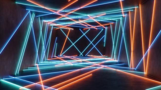 Interior abstrato com luz de néon azul e vermelha.