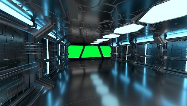 Interior azul de nave espacial com renderização 3d de janela vazia