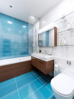 Interior azul do banheiro em casa particular
