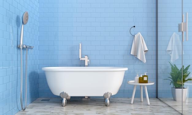 Interior azul do banheiro