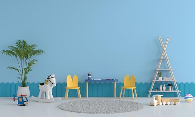 Interior azul do quarto infantil