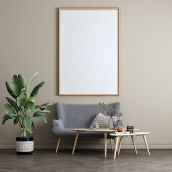 Interior bege da sala de estar com mesa de chá, decoração e quadro de madeira