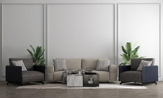 Interior branco da sala de estar com mesa de chá