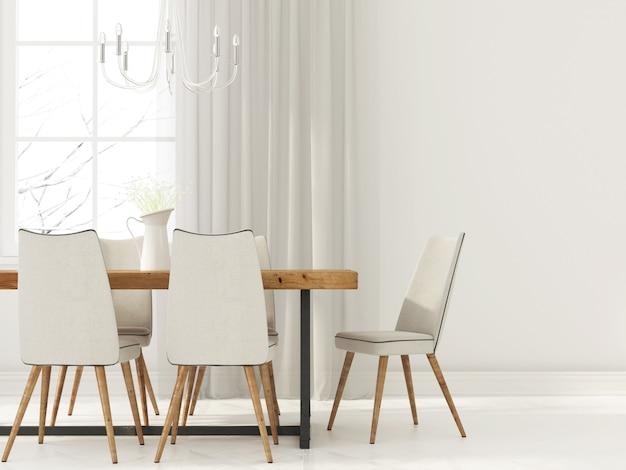 Interior branco da sala de jantar