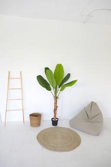 Interior branco de estilo minimalista da sala de luz