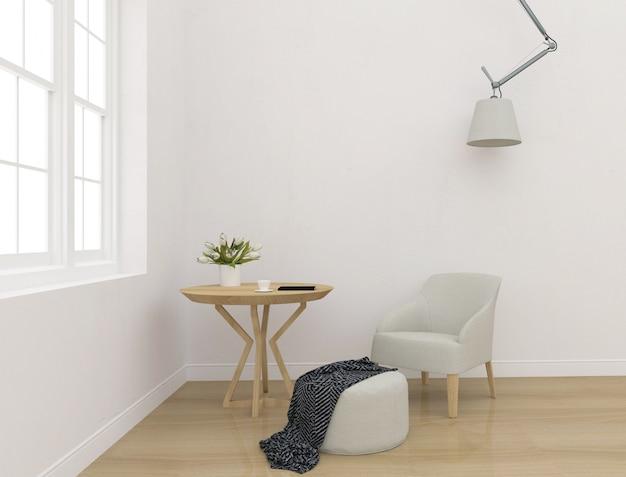 Interior branco - mockup de parede em branco - exibição de arte de parede