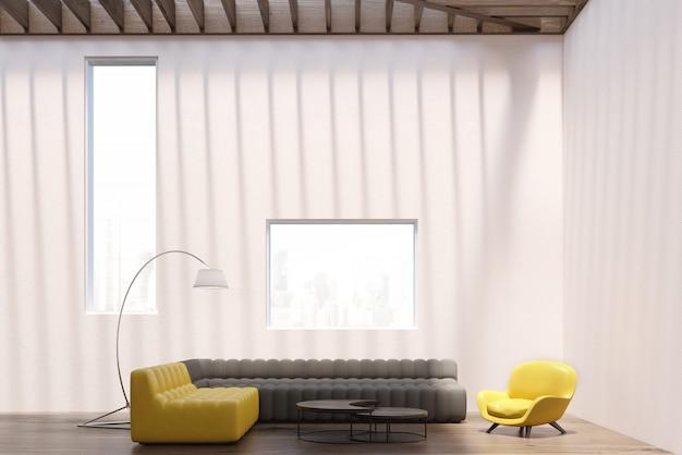 Interior branco sala de estar