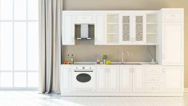 Interior brilhante da cozinha 3d render