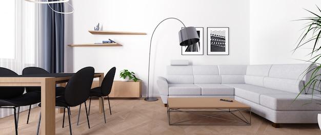 Interior brilhante da sala de estar durante o dia.