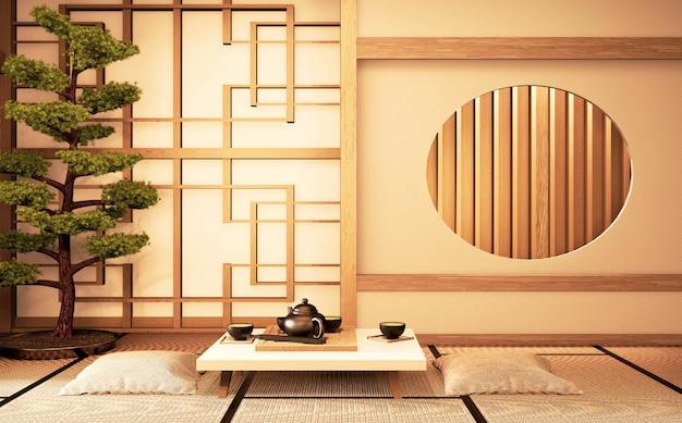 Interior chinês com idéia de madeira do projeto da janela do círculo da sala japão e esteira de tatami. renderização em 3d