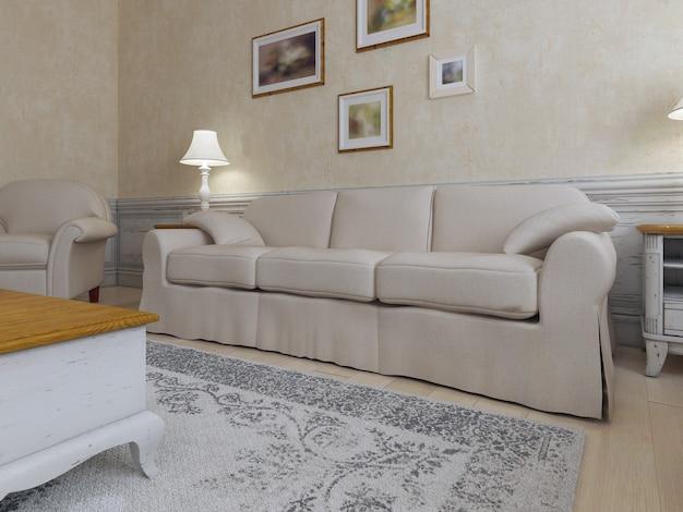 Interior chique gasto de viver no conceito de interior de cor crua com móveis creme e molduras na parede.