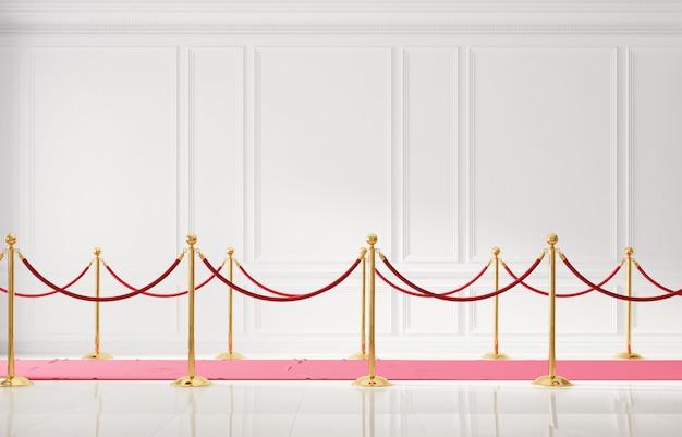 Interior clássico com parede branca e barreira dourada para eventos 3d