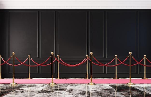 Interior clássico com parede preta e barreira dourada 3d
