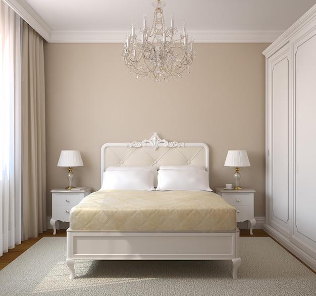 Interior clássico do quarto. renderização 3d.