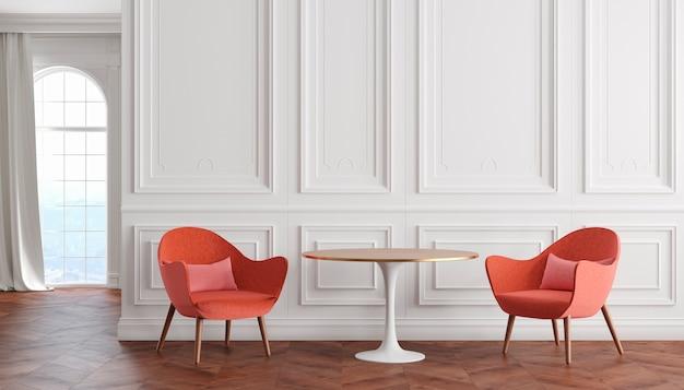 Interior clássico moderno de quarto vazio com paredes brancas, poltronas vermelhas, mesa, cortina e janela. ilustração 3d render.