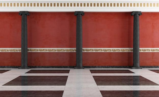 Interior clássico preto e vermelho