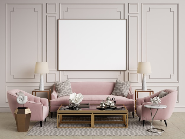 Interior clássico. sofá, cadeiras, sidetables com lâmpadas, mesa com decoração. paredes brancas com molduras. espinha de peixe em parquet. renderização em 3d