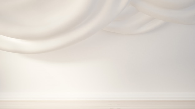 Interior com cortinas e cortinas. renderização em 3d.