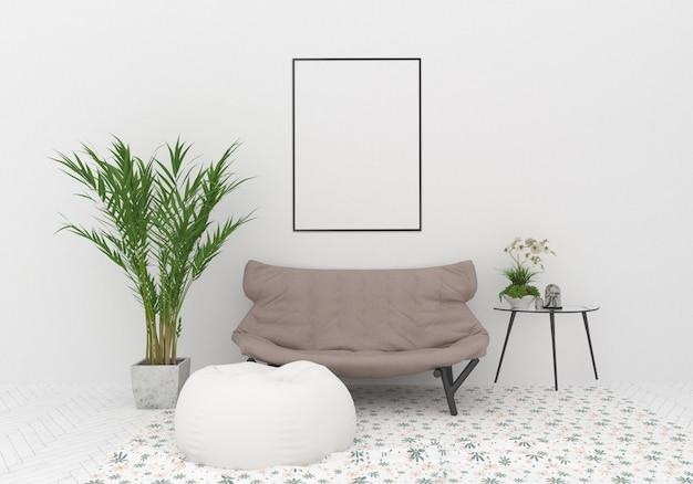 Interior com maquete de quadro vertical