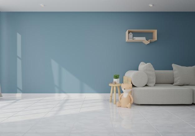 Interior com o sofá cinzento na sala de visitas com parede escura. renderização 3d