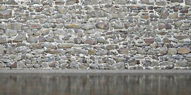 Interior com parede de pedra em todo o quadro, ilustração 3d