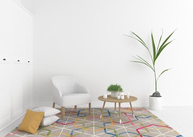 Interior com parede em branco.
