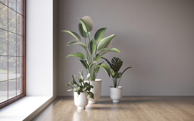 Interior com plantas decorativas no fundo da parede vazia ilustração 3d cg render