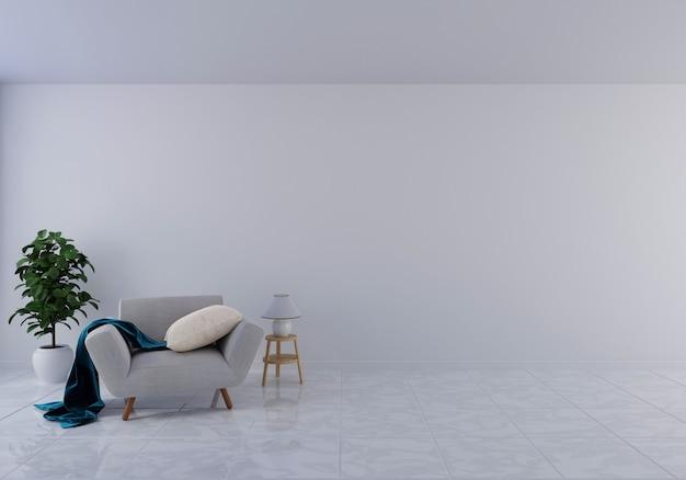 Interior com poltrona de veludo cinza na sala de estar com parede branca