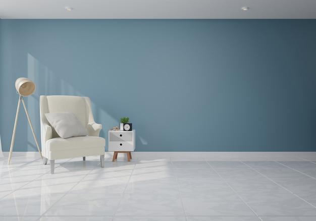 Interior com poltrona de veludo na sala de estar com parede escura