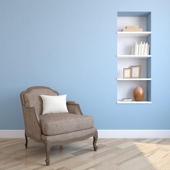 Interior com poltrona. renderização 3d.