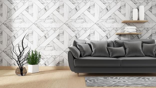 Interior com sofá e plantas verdes em fundo de parede de granito, desenhos mínimos, 3d renderi