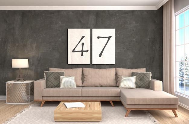 Interior com sofá processado ilustração