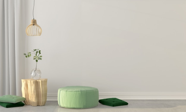 Interior com um sopro verde