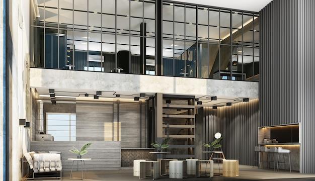 Interior com uma mesa de recepção no estilo loft com área de ginástica decorar com metal e parede de concreto com móveis de madeira renderização em 3d