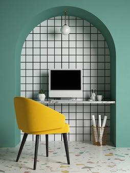 Interior conceitual do estilo memphis ilustração 3 d home office