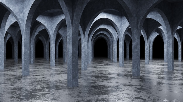 Interior concreto moderno, render 3d