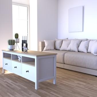 Interior contemporâneo da sala de estar 3d e móveis modernos