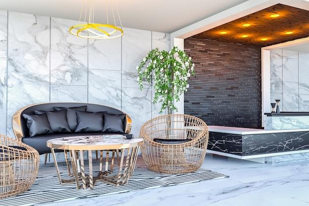 Interior da área do lobby do hotel moderno e mesa de recepção, renderização em 3d