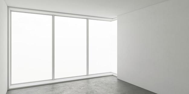 Interior da arquitetura de negócios, sala vazia com parede branca e piso cinza, parede das janelas de canto de vidro, teto e paredes e luz do sol da janela grande, vista perspicaz, simulação