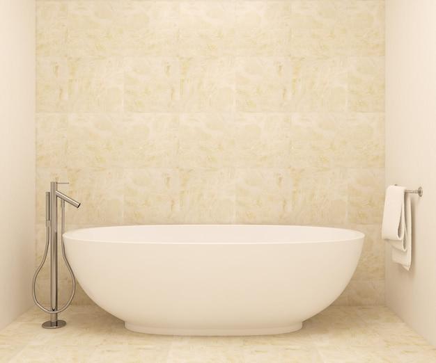 Interior da casa de banho moderna. renderização 3d. as fotos em molduras foram feitas por mim.