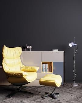 Interior da casa, interior luxuoso e moderno de sala de estar escura, parede preta vazia