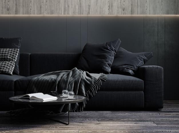 Interior da casa, interior moderno luxuoso da sala de estar escura, renderização 3d
