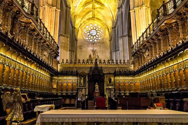 Interior da catedral de sevilha, andaluzia, espanha