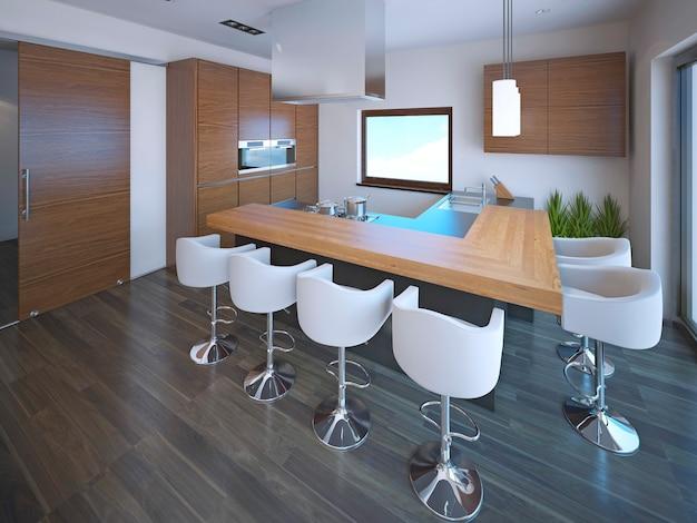 Interior da cozinha com balcão em estilo moderno.