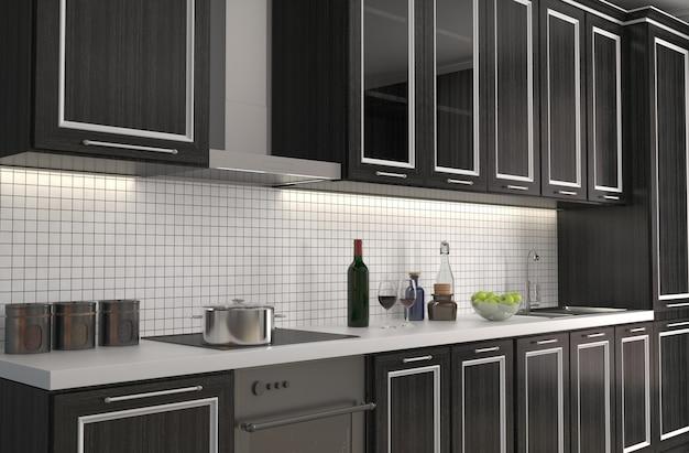 Interior da cozinha. ilustração 3d