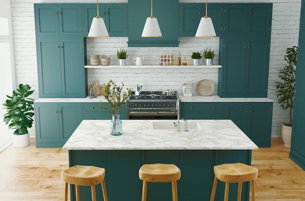 Interior da cozinha moderna em uma mansão luxuosa, renderização em 3d